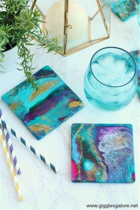 diy ceramic coasters  acrylic pour paint