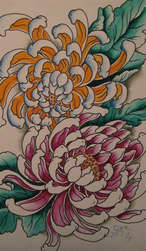 chrysanthemum tattoo designs http clarknorthtattoo wp content uploads 2011 03 img