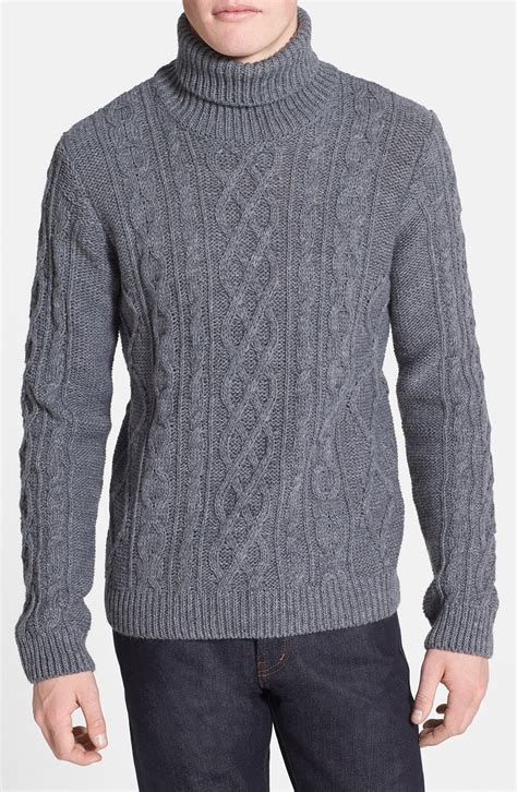 knit turtleneck topman chunky cable knit turtleneck sweater in gray for