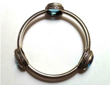 swiss blue topaz solid sterling silver bangle