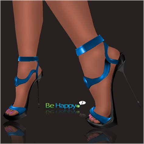 blue high sandals shoes boots sandals be happy