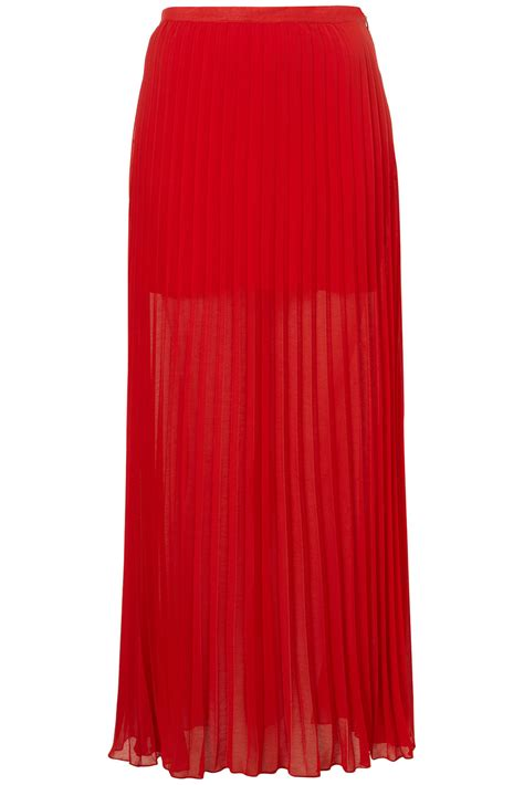 topshop bright pleated maxi skirt in lyst
