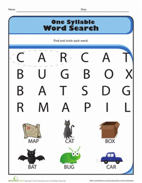 One Look Dictionary Lookup One Syllable Word Search Worksheet Education