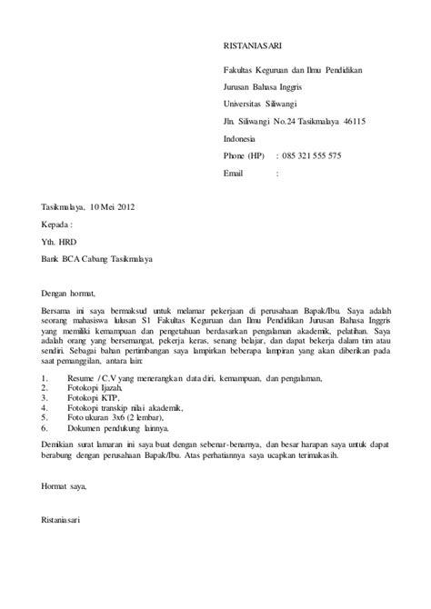 Motivation Letter Magang Contoh Surat Lamaran Ke Bank