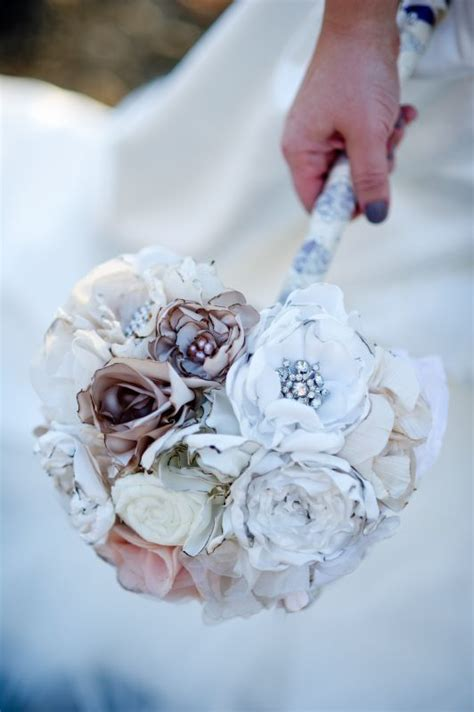 Handmade Bridal Bouquets - handmade fabric flower bouquet weddingbee photo gallery