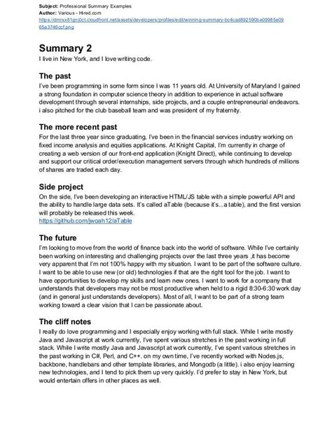 Resume Sles Experienced Professionals Resume Summary Sles For It Professionals 28 Images Professional Resume Summary Statement