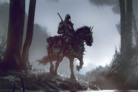 wallpaper  horse warrior dark trees fantasy
