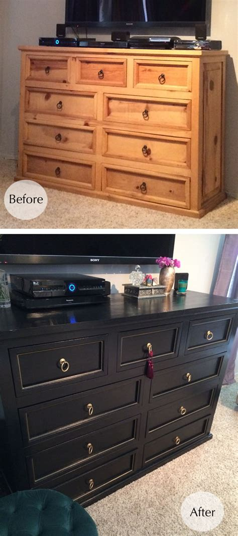 Refinished Dressers Before And After by Dresser Makeover Before After From Rustic To Glam