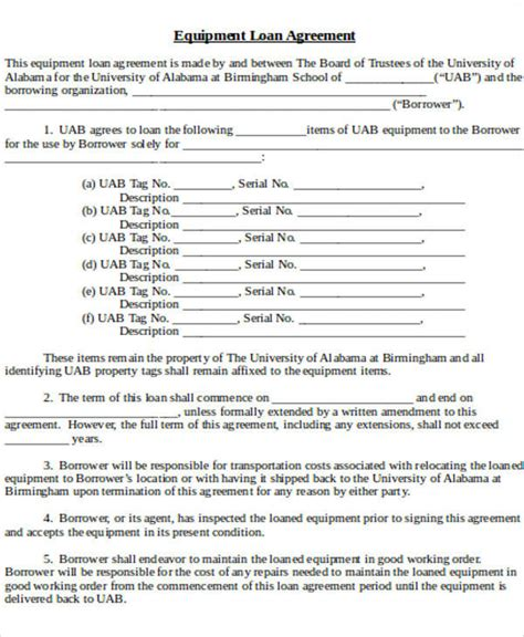Sle Agreement Letter For Lending Equipment Equipment Loan Agreement Template Free 28 Images 60 Sle Agreements In Word Places For