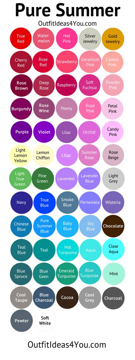 cool color names cool summer color palette pure summer summer soft
