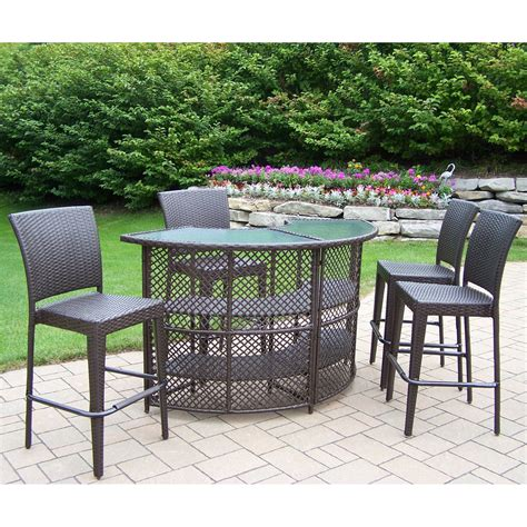 Outdoor Patio Bar Table Oakland Living All Weather Wicker Half Patio Bar Set Pub Tables Bistro Sets At Hayneedle