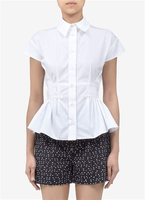 Gap Design Editions White Shirts By Doori Thakoon And Rodarte by Thakoon Peplum Cotton Sleeve Shirt In White Lyst