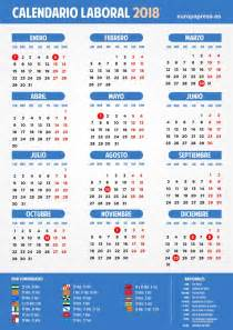 Calendario 2018 Colombia Festivos Calendario Laboral 2018 Semana Santa Puentes Y D 237 As Festivos