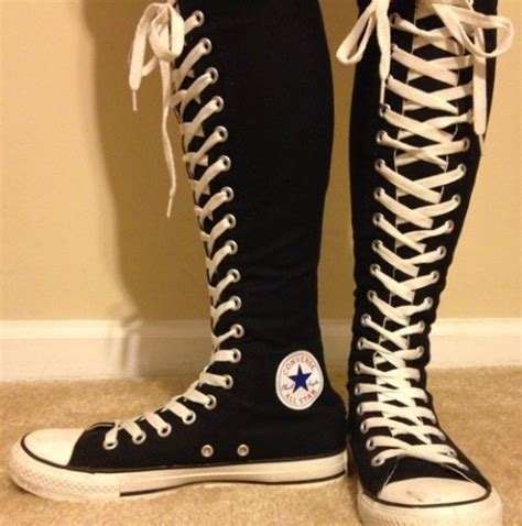knee high converse we it black boots and converse