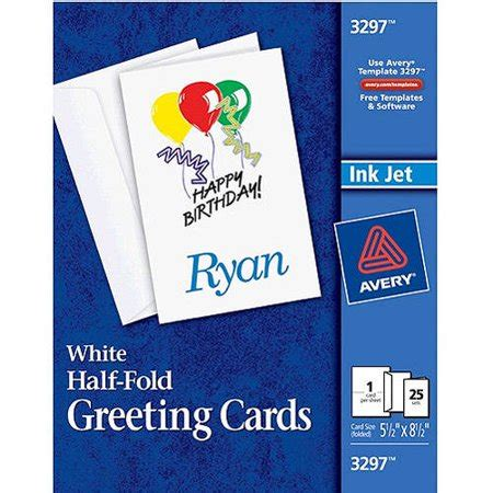 avery greeting card templates free 3297 avery half fold greeting cards set of 25 walmart