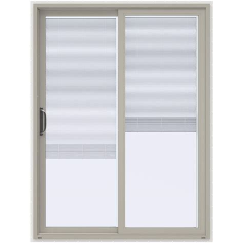 Patio Doors Blinds Inside Jeld Wen 60 In X 80 In V 4500 Desert Sand Prehung Left Sliding Vinyl Patio Door With