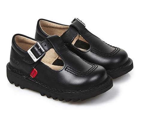 Kickers Pantofel 02 Leather Black kickers kick lo aztec black leather infant junior back to school shoes ebay