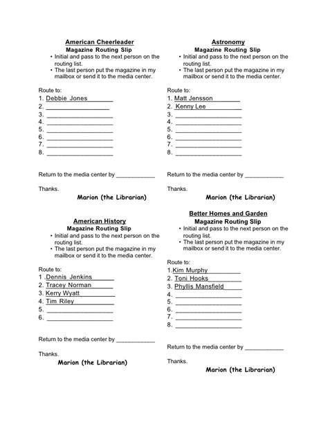 routing form template magazine routing slips