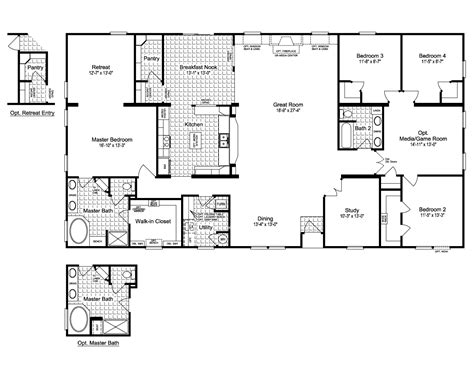 wide floor plans 4 bedroom bedroom modular home plans simple floor br with 4