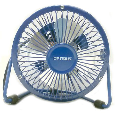 Optimus 97083418m 4 Quot Personal Metal Fan In Blue