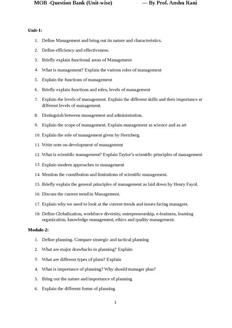 Common Questions For Mba Graduates by Unit Wise Questions In Mob For Bba And Mba Students Docsity