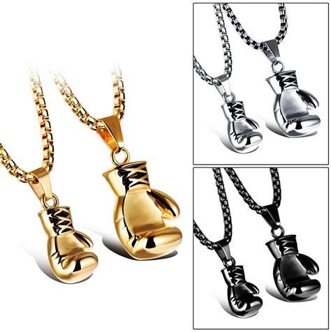 fashion mini boxing glove necklace gold black silver