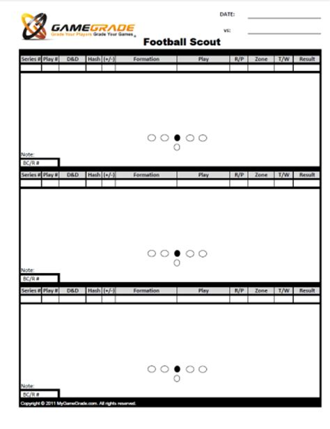 Football Scout Card Template by Football Scout Sheets