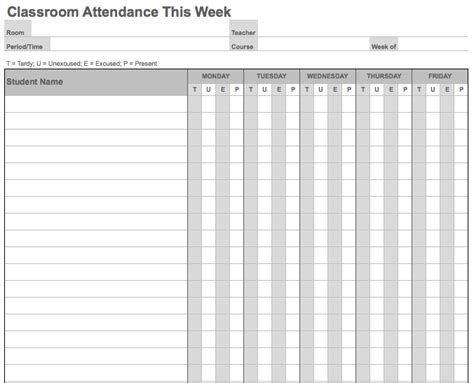 student attendance sheet template excel 10 best images of