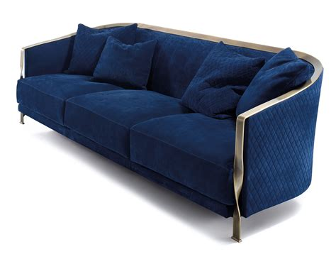 Blue Fabric Sofas by Nella Vetrina Rugiano 6080 Sofa In Blue Fabric