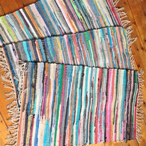 Rag Rug Bath Mat by Fair Trade Indian Stripey Chindi Rag Rug Bath Mat Blues