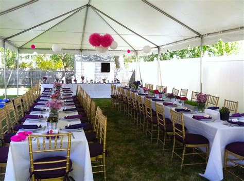 tent for backyard party backyard engagement party tent white table linens with