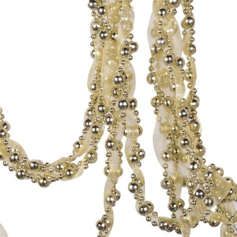 gold bead and ribbon garland 2 7m party decorations