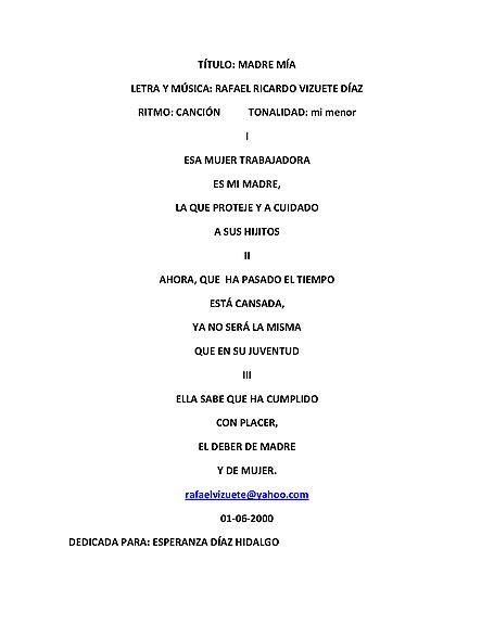 Madre Mía Letra - - Partituras - Cantorion, partituras y