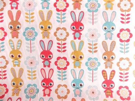 printable fabric uk rabbit print polycotton fabric