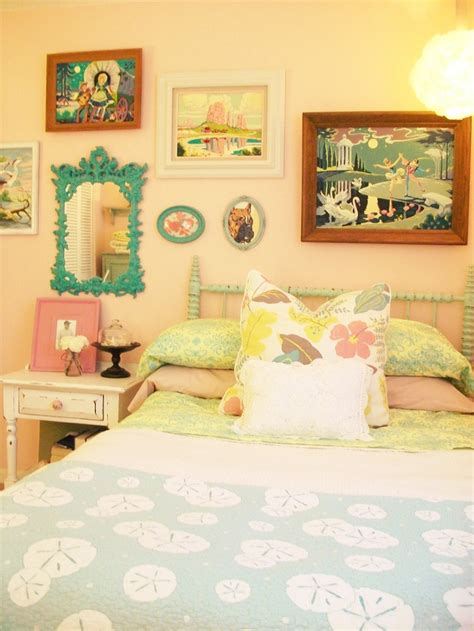 vintage 1950s inspired pastel bedroom with paint by number collection