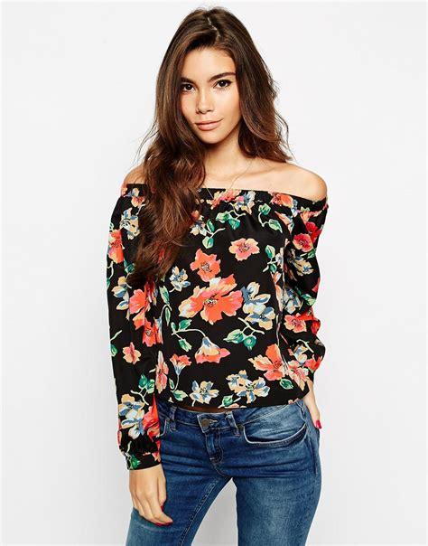Printed Shoulder Top asos woven the shoulder floral printed top at asos