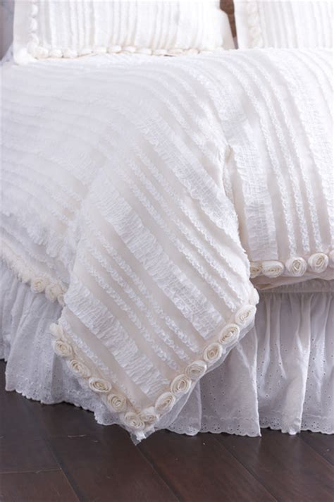 cream ruffle bedding cream ruffled duvet cover with rosette trim farmhouse