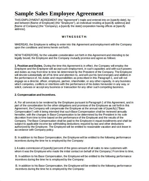 6 Sle Sales Employment Agreements Sle Templates Employee Sales Commission Agreement Template
