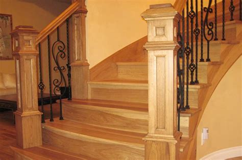 Box Stairs Design Custom Box Newel Posts With Iron Balusters On Curved Staircase Installation By Splash Carpentry