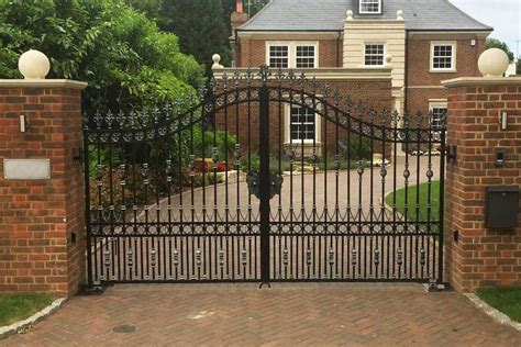 contemporary metal front door entry double driveway gates