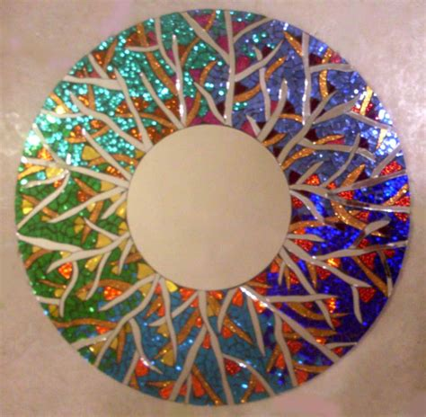 Handmade Mosaic - colorful handmade large stained glass mosaic mirror