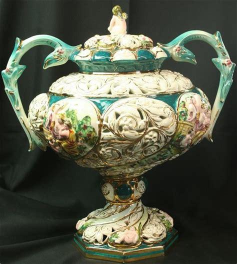 Capodimonte Large Vase by Large 1950 Vintage Capodimonte Vase Gold Blue Ceramic