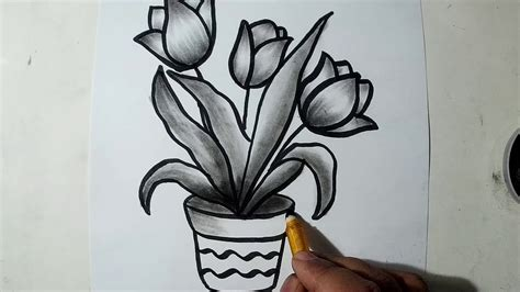 How To Draw A Flower With Charcoal how to draw a flower pot charcoal drawing and shading