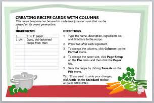 Recipes Card Templates Free Recipe Card Templates For Microsoft Word Galleryhip