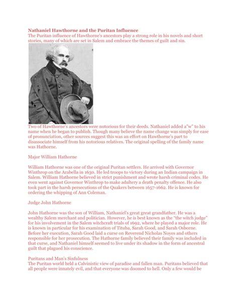 nathaniel hawthorne   puritan influence