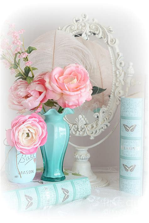 dreamy shabby chic cottage pink aqua floral romantic