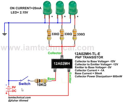 pnp transistor led switch pnp bjt 12a02mh tl e as a switch iamtechnical