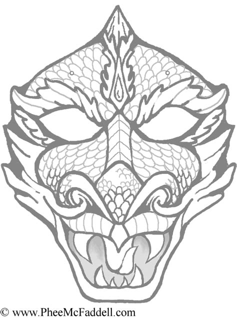 dragon mask coloring page