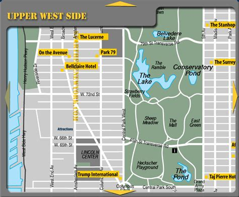 West Side Tourist Attractions West Side New York Hotel Map Central Park Mappery