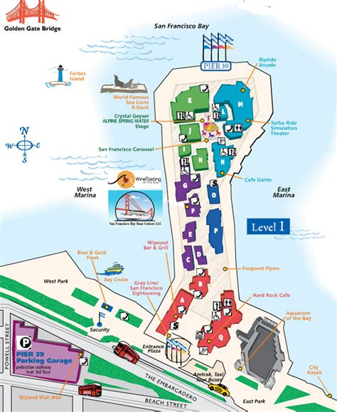 san francisco map of piers pier 39 map san francisco bay boat cruises